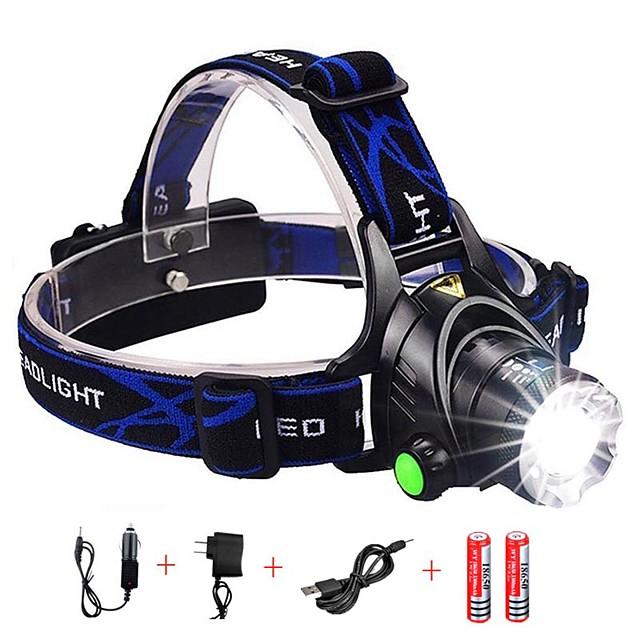 Lampes Frontales Phare Avant de Moto Imperméable Fonction Zoom 1600 lm LED LED Émetteurs 3 Mode d'Eclairage avec Piles et Chargeur Imperméable Fonction Zoom Rechargeable Faisceau Ajustable Résistant