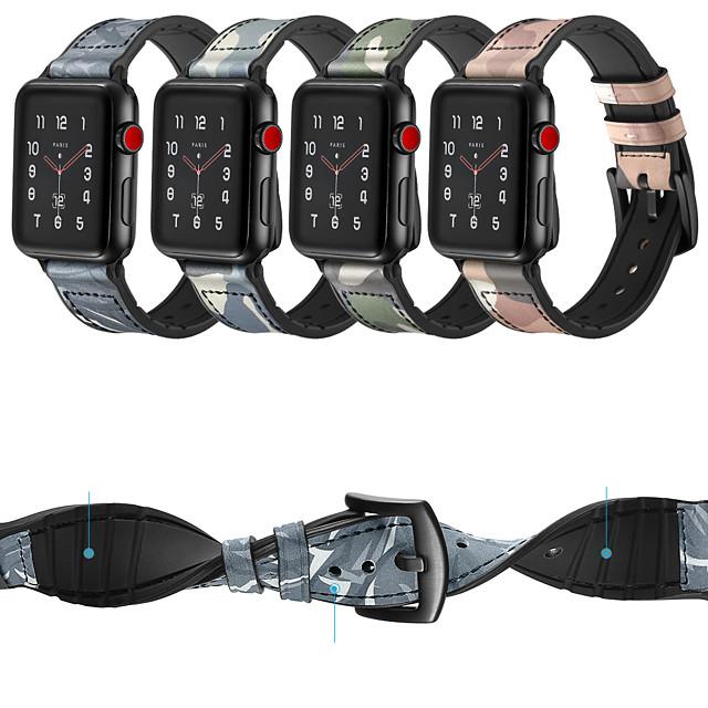 시계 밴드 용 Apple Watch Series 6 / SE / 5/4 44mm / Apple Watch Series 6 / SE / 5/4 40mm / Apple Watch 시리즈 3/2/1 38mm Apple 가죽 루프 실리콘 / 천연 가죽 손목 스트랩