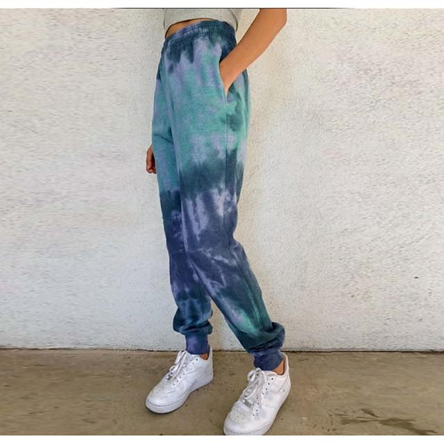 Women's Chino Casual Pants Pants Tie Dye Full Length Blue Purple Wine Green Gray