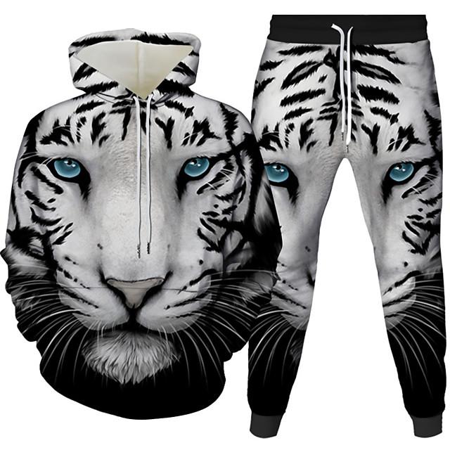 Voor heren 3D-hoodies set Grafisch 3D 2-stuks Dagelijks 3D-afdrukken Informeel Hoodies Sweatshirts Wit Zwart blauw