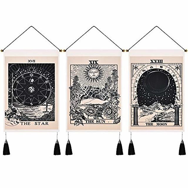 pack de 3 tarot divination tapisserie murale bohème art décor couverture rideau suspendu maison chambre salon décoration nordique coton lin gland lune étoiles soleil 14