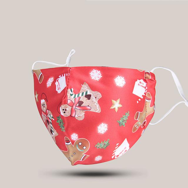 5 maschere di cotone antipolvere traspirante spot natalizio possono mettere filtri per adulti e bambini maschere di cotone a tema genitore-figlio di natale