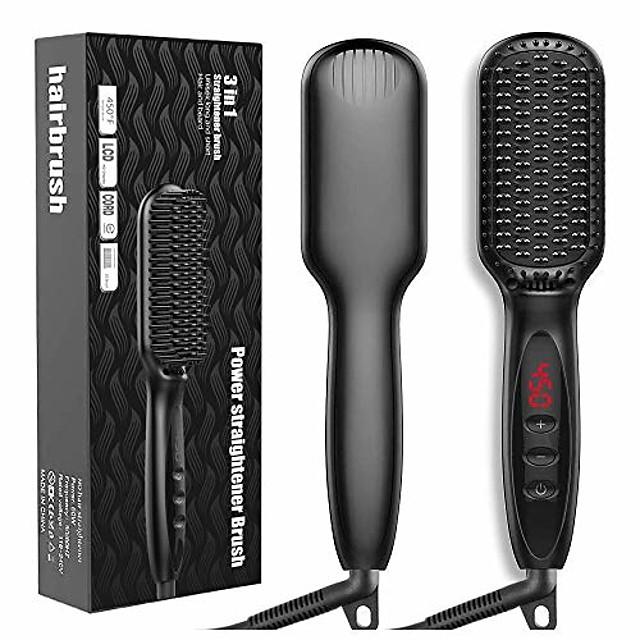 brosse à lisser les cheveux, brosse à lisser ionique avec chauffage rapide en céramique mch, anti-brûlure, verrouillage automatique de la température et fonction d'arrêt automatique, peigne à lisser
