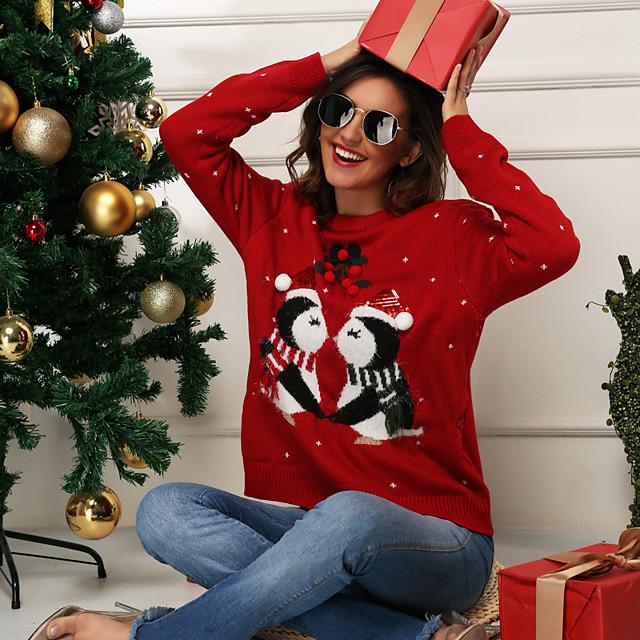 女性用 クリスマス ニット 幾何学模様 プルオーバー アクリル繊維 長袖 セーターカーディガン クルーネック 秋 冬 ルビーレッド ネイビーブルー