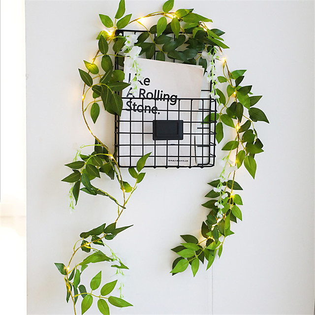 1x 2m 20 led τεχνητά φυτά κορδόνι ανοιχτό πράσινο φύλλο με άνθη κισσού αμπέλου νεράιδα φωτιστικό κορδόνι φύλλα γιρλάντα diy κρεμαστό σπίτι εσωτερική διακόσμηση φωτισμός aa μπαταρία (ελάτε χωρίς