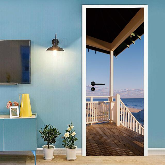 Seaside cottage zelfklevende creatieve deur stickers voor woonkamer diy decoratieve thuis waterdichte muurstickers