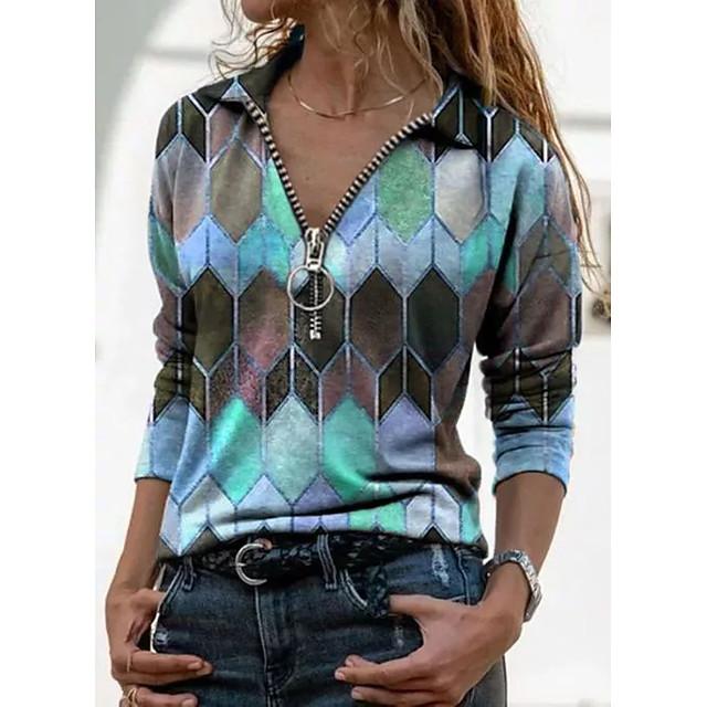 Women's T shirt Color Block Graphic Prints Long Sleeve Print V Neck Shirt Collar Tops Basic Basic Top Blue Purple Yellow