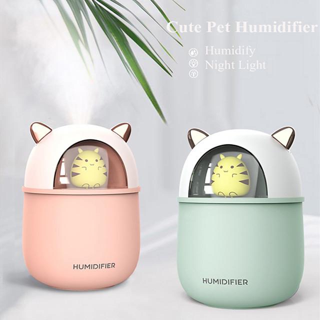 humidificateur d'air usb machine à brouillard ultrasonique lampe colorée nébuliseur mini diffuseur d'arôme de chat 300 ml