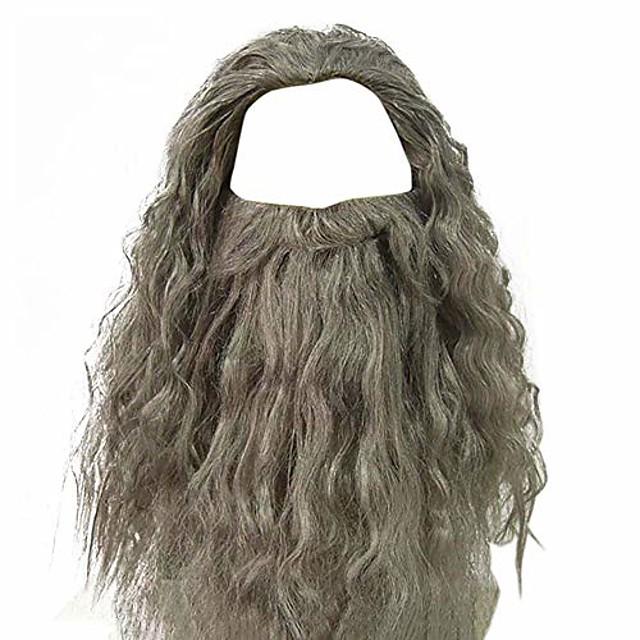 grijze tovenaarspruik en baard set voor mannen krullend rommelig lang haar oude man tovenaar kostuum pruik halloween verkleedkleding accessoires voor volwassen (grijze pruik + baard)