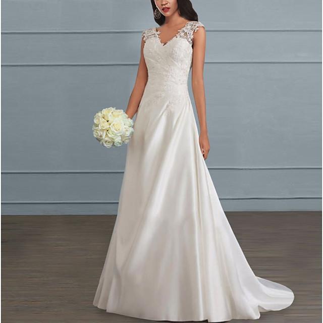نسائي فستان سوينج فستان طويل أبيض بدون كم لون الصلبة بدون ظهر دانتيل الصيف V رقبة أنيق كاجوال مناسب للحفلات شاطئ نحيل 2021 S M L XL XXL 3XL 4XL 5XL / قياس كبير / طويل للأرض / قياس كبير