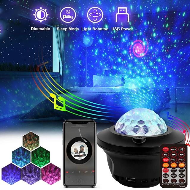 Lampe Projecteur Etoile Galaxie MGY-13D Télécommande avec haut-parleur de musique Bluetooth Projecteur de lumière laser Soirée Mariage Cadeau Blanc