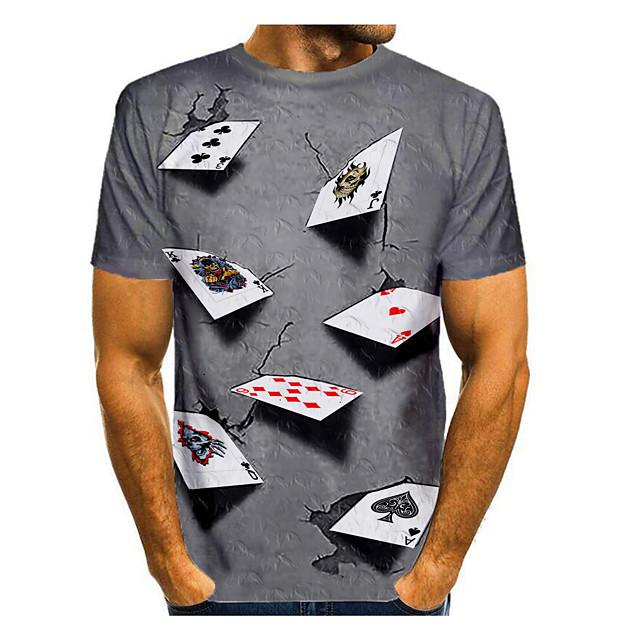 Per uomo maglietta Stampa 3D Pop art 3D Con stampe Manica corta Quotidiano Top Rotonda Viola Giallo Blu