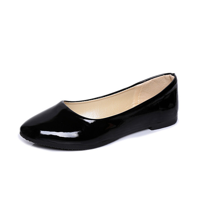 Women's Flats Flat Heel Pointed Toe Classic Daily Patent Leather Solid Colored White Black Purple