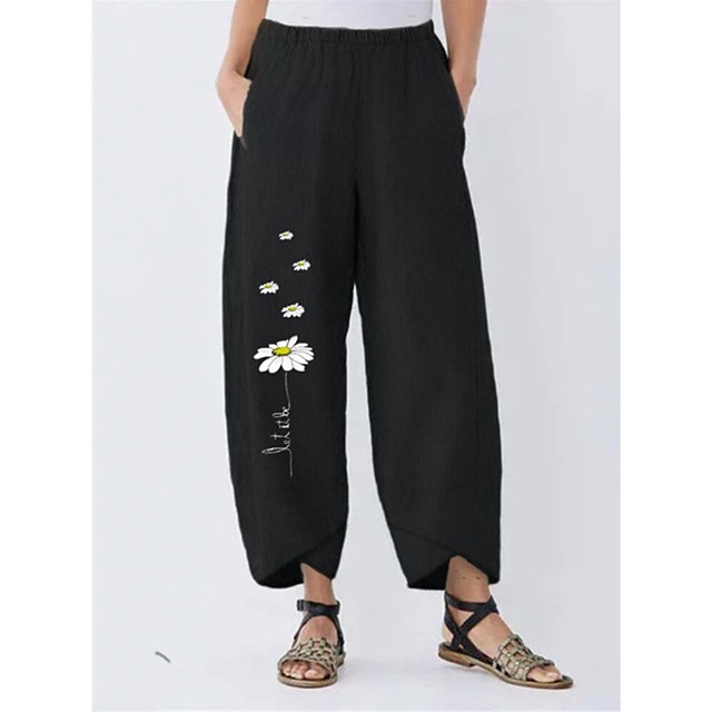Women's Basic Streetwear Comfort Daily Going out Pants Chinos Pants Patterned Flower Full Length Pocket Print Black Green