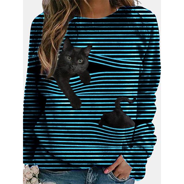 Dames T-shirt Gestreept Lange mouw Lapwerk Ronde hals Tops Basic Basis-top Zwart blauw Geel
