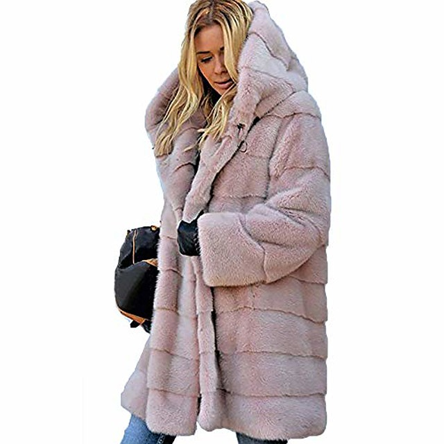 cappotti invernali in pelliccia sintetica da donna giacche lunghe in pile con cappuccio abiti rosa