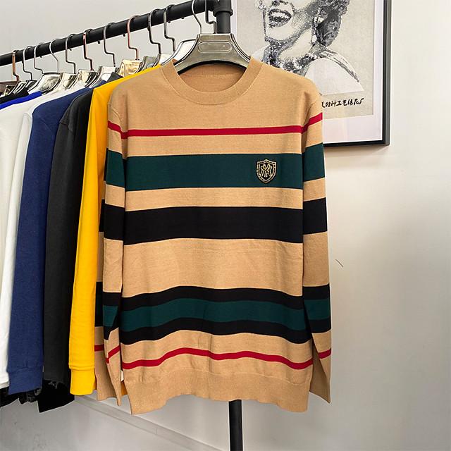 남성용 니트 줄무늬 풀오버 면 긴 소매 스웨터 가디건 크루넥 가을 겨울 카키