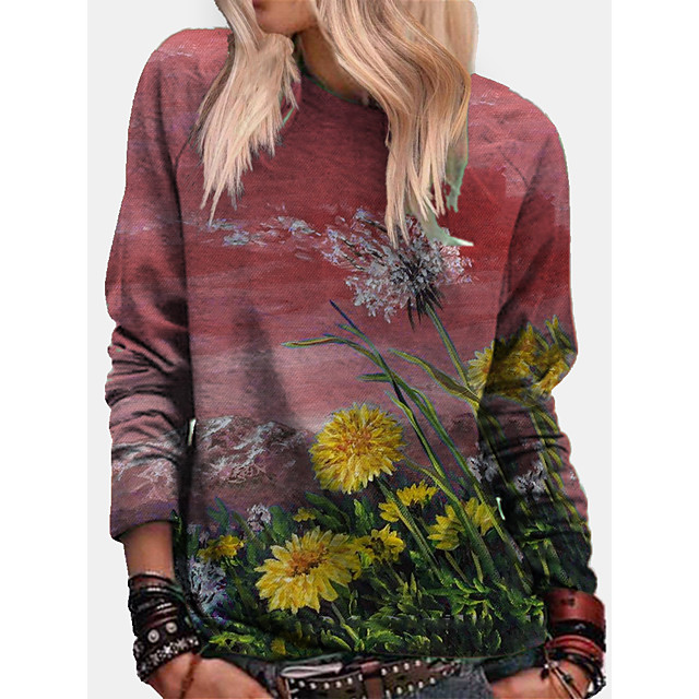 Women's Pullover Sweatshirt Graphic Daisy Print Daily Other Prints Basic Casual Hoodies Sweatshirts  Blue Purple Red