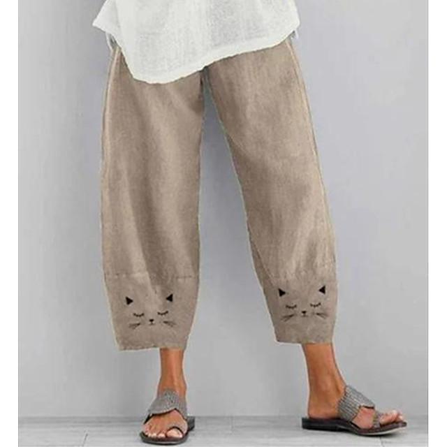 בגדי ריקוד נשים בסיסי סגנון רחוב קומפורט יומי ליציאה מכנסיים צ'ינו מכנסיים דפוס עד לקרסול דפוס צהוב ורוד מסמיק חאקי