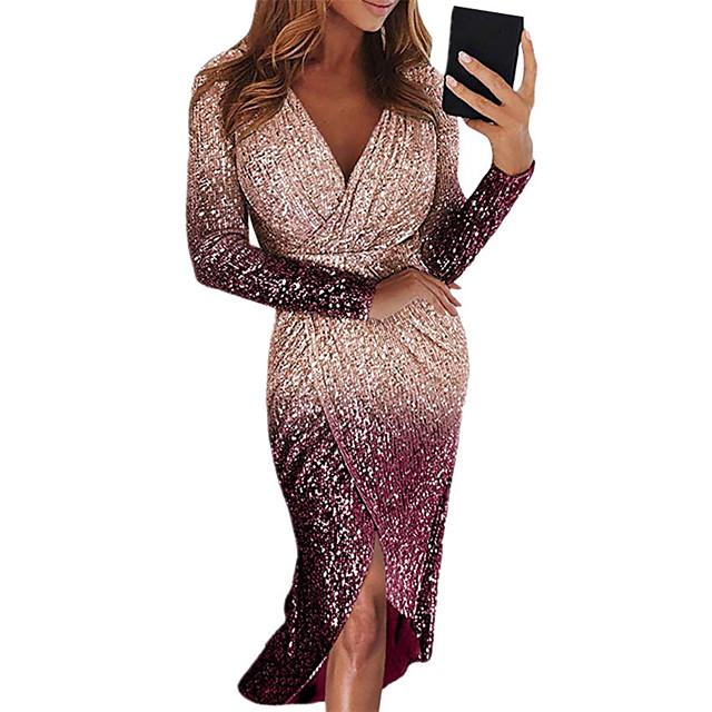 Dames Strakke jurk Midi-jurk Zwart blauw Paars Rood Geel Blozend Roze Goud Zilver Lange mouw Afdrukken Pailletten plus hoog laag Herfst Lente V-hals Elegant Sexy 2021 S M L XL XXL