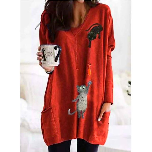 Жен. Толстовка пуловера Графика Повседневные Длинный Толстовки Толстовки Оранжевый Зеленый Светло-серый