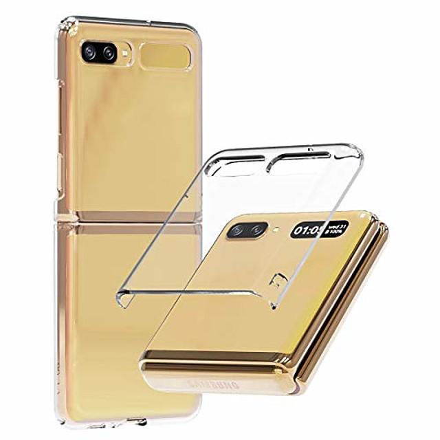 nukin, custodia per telefono in policarbonato trasparente per galaxy z flip, custodia per telefono sottile con rivestimento duro premium - trasparente