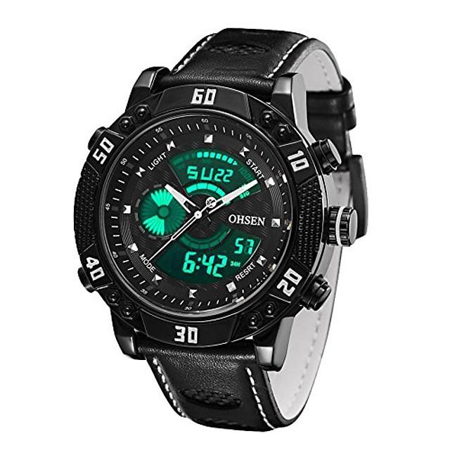 unisex kwarcowy sportowy wodoodporny okrągły wskaźnik skórzany pasek&zegarek na rękę z wyświetlaczem cyfrowym