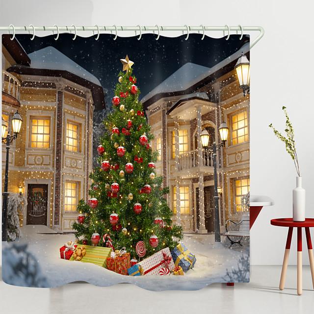 kerstvilla kerstboom digitaal printen douchegordijn douchegordijnen haken modern polyester nieuw design