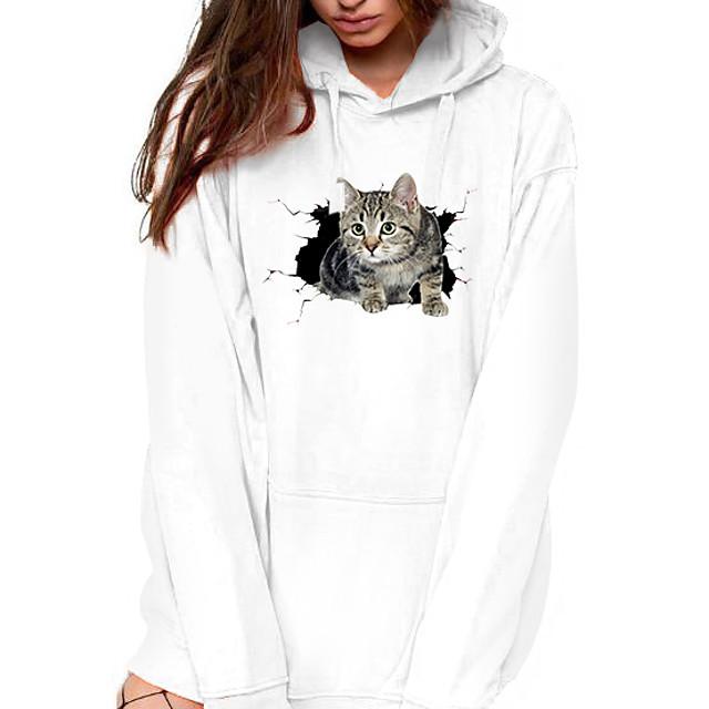 Dames Trui met capuchon Kat Grafisch 3D Voorvak Dagelijks Basic Informeel Hoodies Sweatshirts Wit