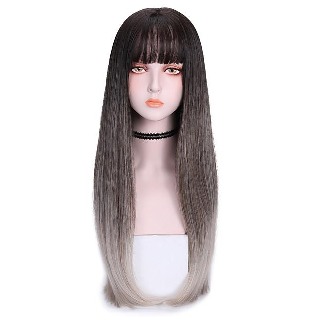 Perruque Synthétique Droit Avec Frange Perruque Longue Grise Vert Violet Cheveux Synthétiques 26 pouce Femme Frais Dégradé de Couleur Gris foncé Violet
