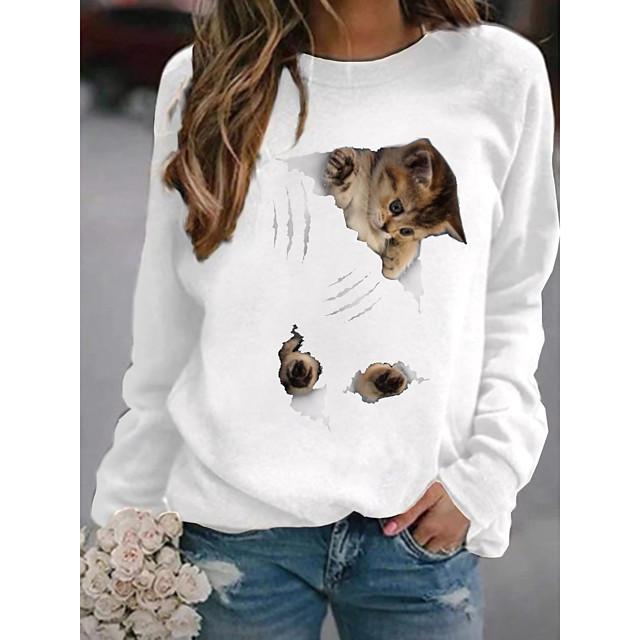 Dames Trui met capuchon Kat Grafisch 3D Dagelijks Basic Informeel Hoodies Sweatshirts Wit Zwart Blozend Roze