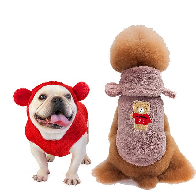 Köpekler Paltolar Kapşonlu Gömlekler Tracksuit Hayvan Kalın Kadife Günlük / Sade Köpek Giyimi Köpek Giysileri Köpek Kıyafetleri Sıcak Mor Sarı Kırmzı Kostüm Kız ve Erkek Köpek için Mercan Kumaş S M L