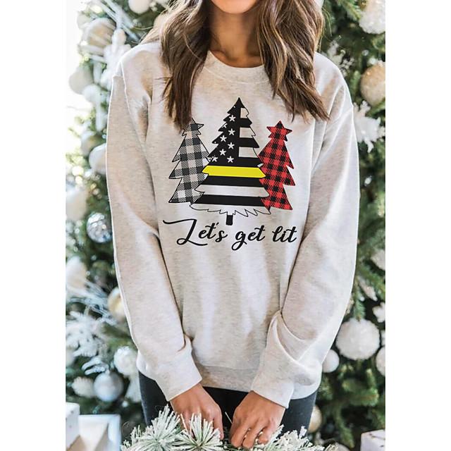 Dames Trui met capuchon Geruit geruit Grafisch Kerstboom Kerstmis Dagelijks Basic Informeel Hoodies Sweatshirts Wit Geel Blozend Roze