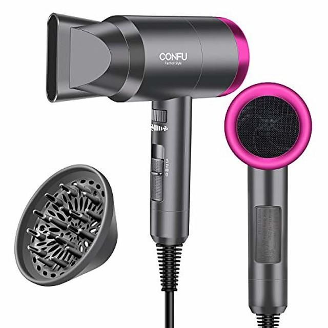 sèche-cheveux pour les voyages&maison, sèche-cheveux ionique négatif léger 1600w, 3 réglages de chaleur, réglages de refroidissement, buses de diffuseur et de concentrateur (gris)
