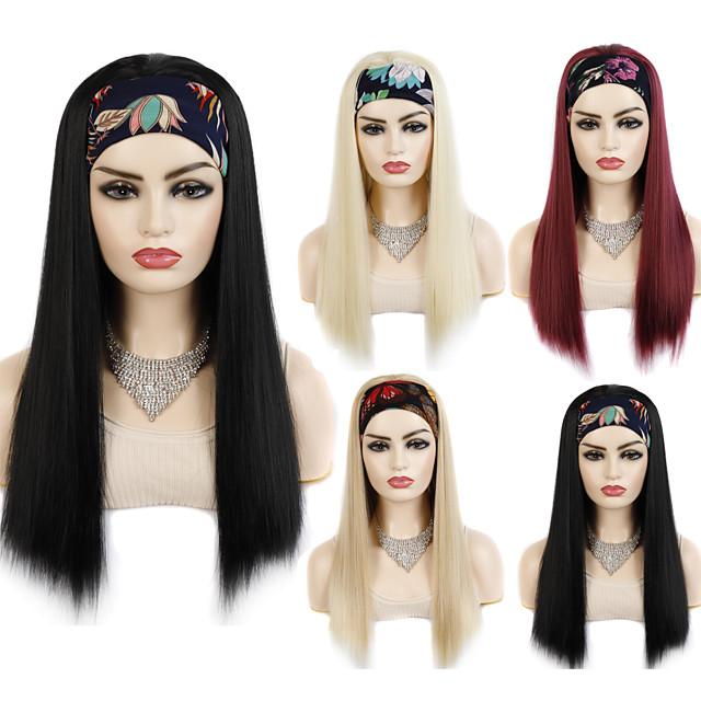 22 inch pruik hoofddeksels hoofdband stijl dagelijks uitje pruik hoofddeksels dames hoofdband haarband lang steil haar pruiken synthetisch hoofddeksel zwart goud wijnrood multicolor