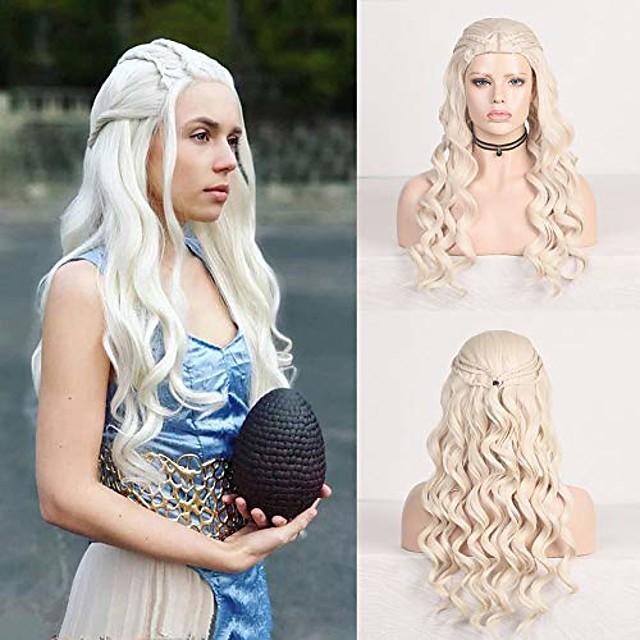 rdy platine blonde vague de corps synthétique daenerys targaryen cosplay perruque pour les femmes avec six tresses khaleesi costume perruque de cheveux halloween party perruque 26 pouces