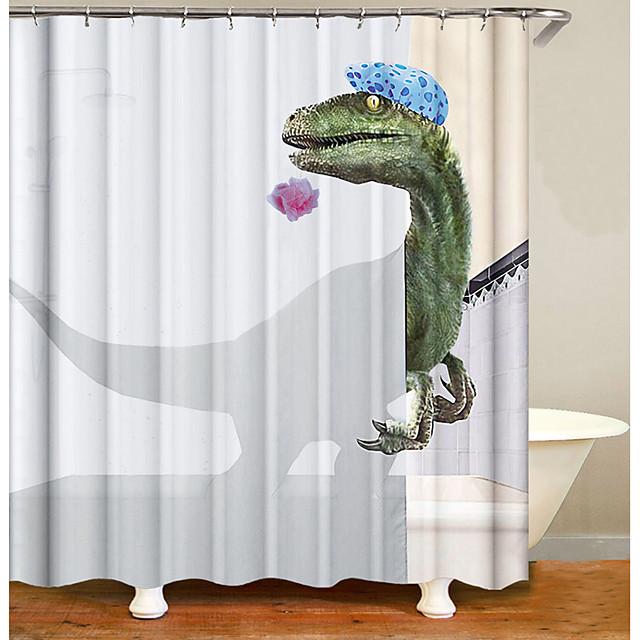 badkamer douchegordijnen hedendaagse polyester waterdicht dinosaurus patroon bad gordijn met haken 1pc