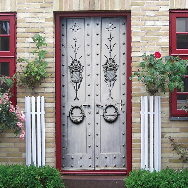 imitatie ijzeren deur zelfklevende creatieve deurstickers woonkamer diy decoratieve thuis waterdichte muurstickers