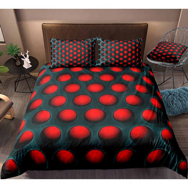 3D Hole Print Honeycomb 3-Piece Duvet Cover Set Hotel Bedding Sets Comforter Cover with Soft Lightweight Microfiber For Holiday Decoration(Include 1 Duvet Cover and 1or 2 Pillowcases)