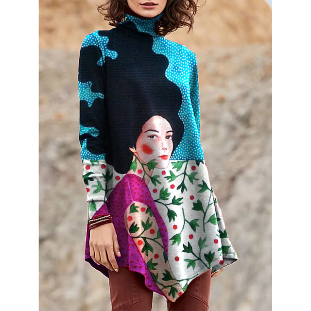 Dames T shirt jurk Mini-jurk Zwart blauw Paars Geel Licht Blauw Lange mouw Afdrukken Kleurenblok Lapwerk Opdruk Herfst Winter Coltrui Informeel 2021 S M L XL XXL 3XL