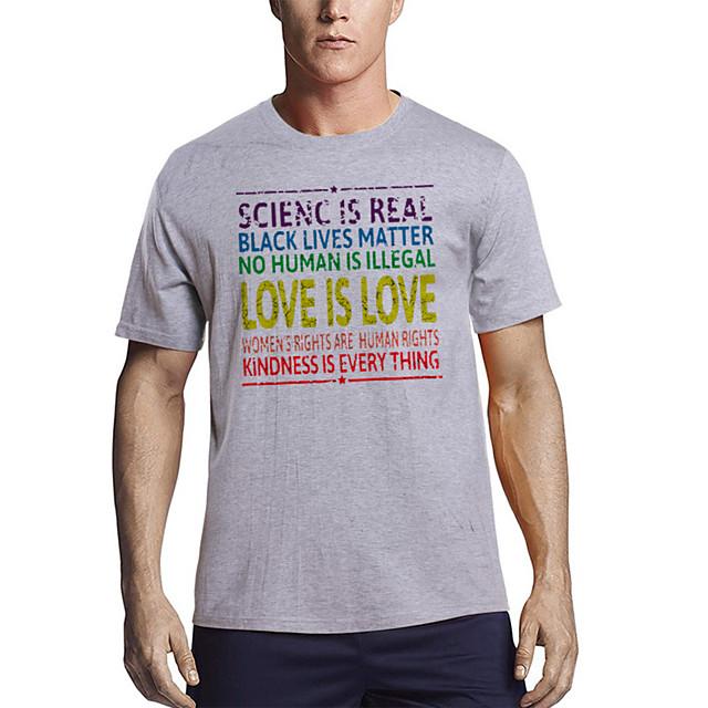 Voor heren T-shirt Andere prints Grafisch Brief Opdruk Korte mouw Dagelijks Tops Katoen Basic Wit Zwart Rood