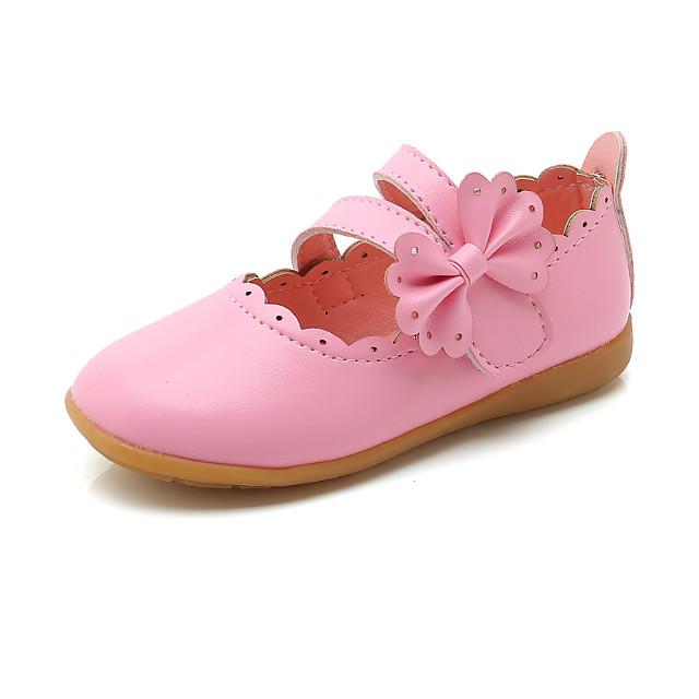 Girls' Flats Princess Shoes PU Little Kids(4-7ys) Daily Walking Shoes White Fuchsia Pink Fall Spring