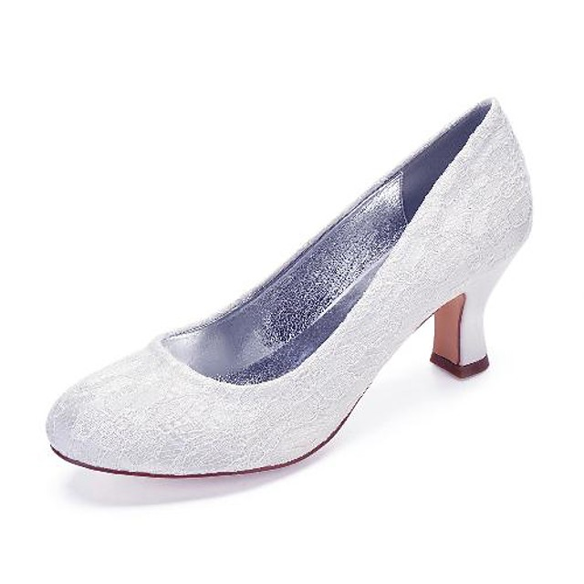 Women's Wedding Shoes Cuban Heel Round Toe Wedding Pumps Vintage Classic Wedding Party & Evening Lace Solid Colored White Ivory