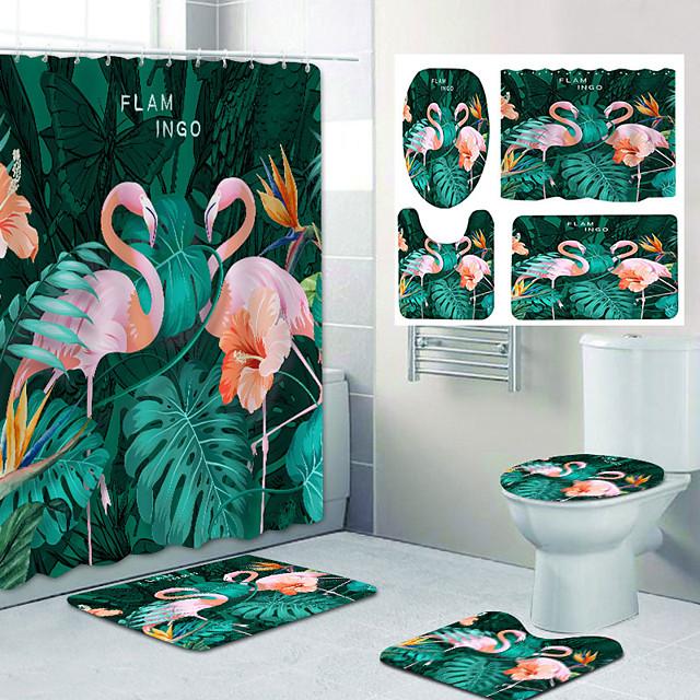 Bathroom Shower Curtain & Mat Set Classic Polyester New Design