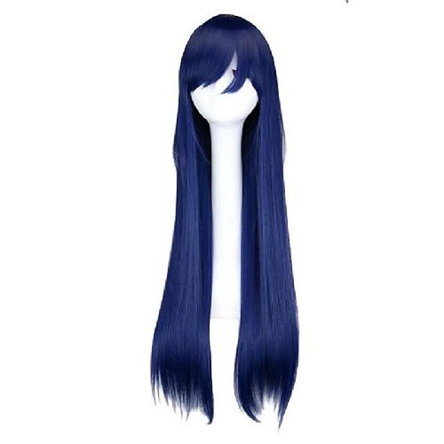 Cosplay kostuum pruik Synthetische pruiken Recht Met pony Pruik Lang Blauw Synthetisch haar 32 inch(es) Dames Modieus ontwerp Cosplay Makkelijk mee te nemen Blauw