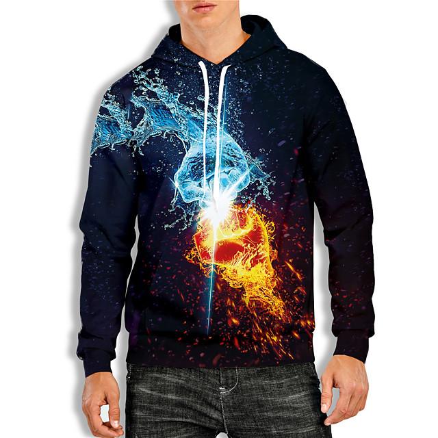 Voor heren Trui met capuchon Grafisch 3D Opdruk Dagelijks 3D-afdrukken 3D-print Informeel Hoodies Sweatshirts blauw