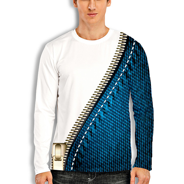 Voor heren T-shirt 3D-afdrukken Grafisch 3D Opdruk Lange mouw Informeel Tops Tekenfilm Klassiek blauw