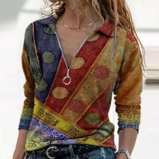 Dames Blouse Overhemd Kleurenblok Lange mouw Lapwerk Opdruk V-hals Tops Basis-top blauw Paars Rood