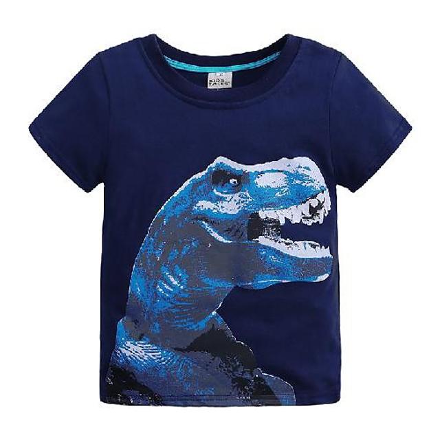 أطفال للصبيان تي شيرت كنزة مطبوعة كم قصير ديناصور لون سادة حيوان طباعة أزرق أطفال قمم الصيف أساسي كوول