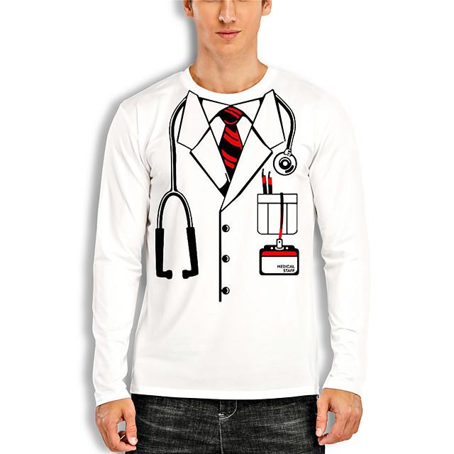 Voor heren T-shirt 3D-afdrukken Grafisch 3D Opdruk Lange mouw Informeel Tops Tekenfilm Klassiek Wit